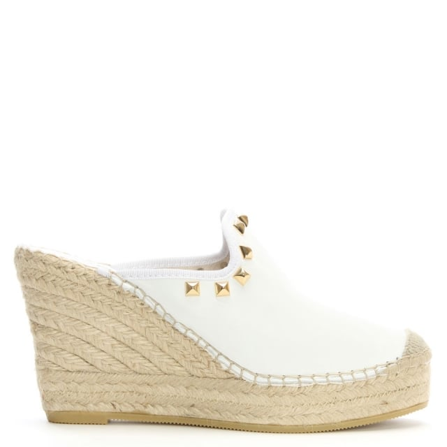 San Juan White Leather Studded Closed Toe Wedge Mules