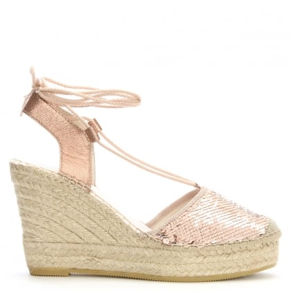 San Luis Pink Sequin Toe Wedge Espadrilles