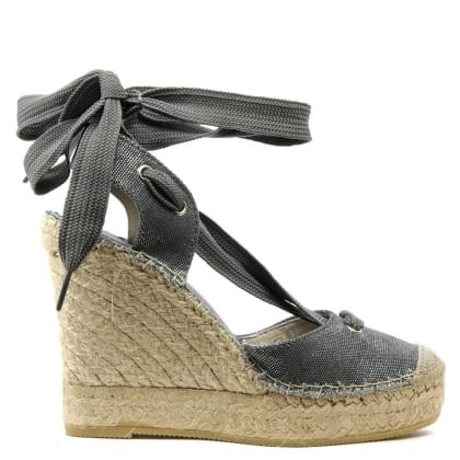 San Marcos Blue Ankle Tie Wedge Espadrille