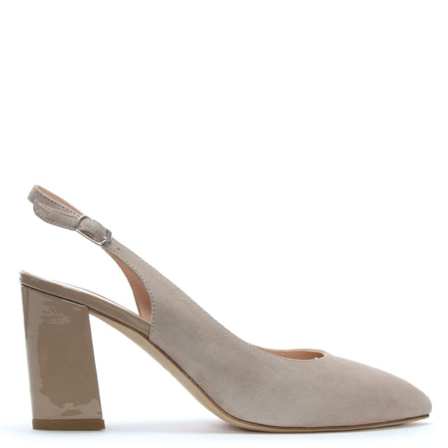 Sanctify Beige Suede Sling Back Block Heel Court Shoes