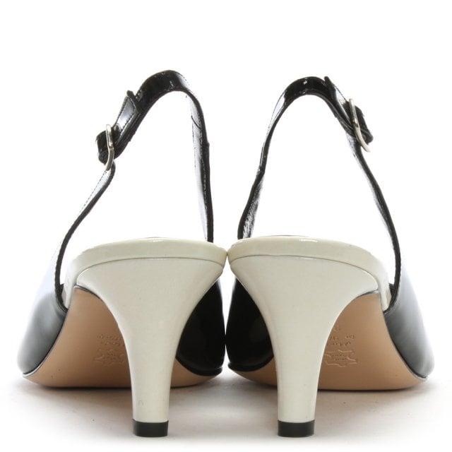 3e6ec789954 Calpierre Sanctify Black Patent Sling Back Block Heel Court Shoes