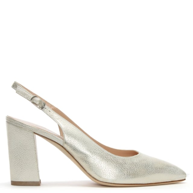 Sanctify Gold Leather Sling Back Block Heel Court Shoes
