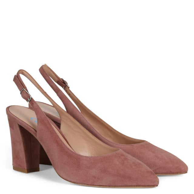 1793a1d9223 Sanctify Pink Suede Sling Back Block Heel Court Shoes