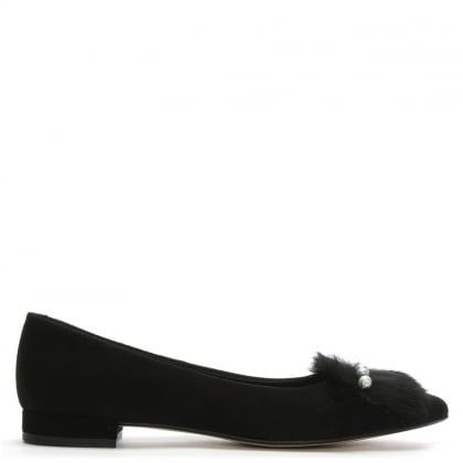 Sandbar Black Suede Fur Trim Pointed Toe Pumps