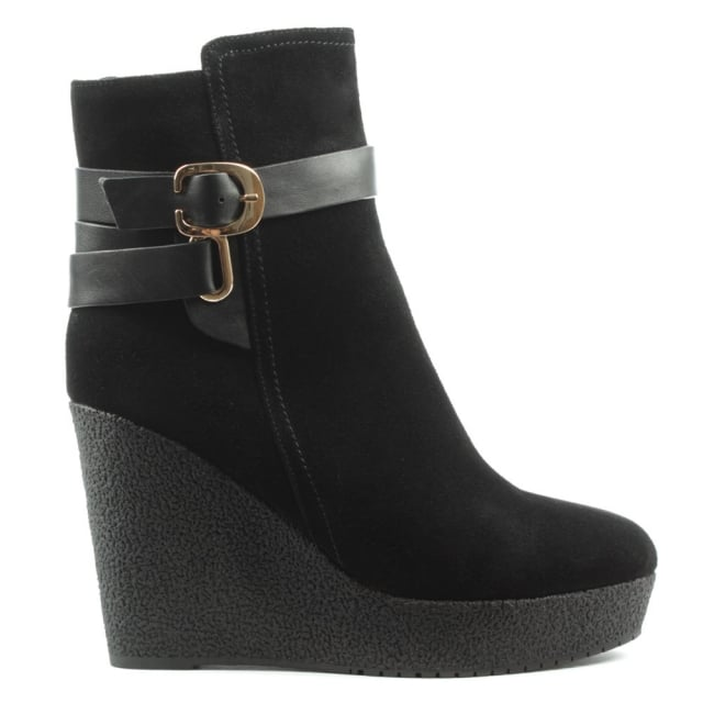 Sandhurst Black Suede High Wedge Buckle Ankle Boot