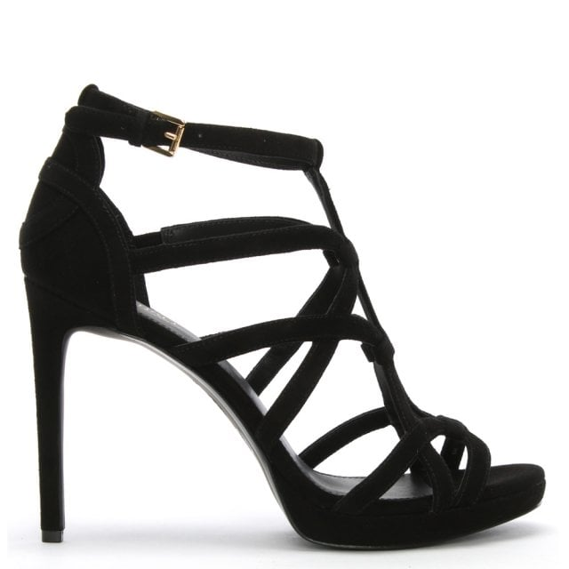 20c7861af45 Michael Kors Sandra Black Suede Cut Out Platform Sandals