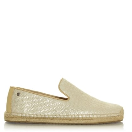 UGG Sandrinne Gold Leather Espadrille