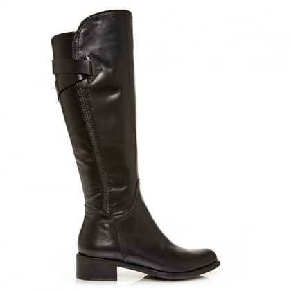Santia Black Leather Cross Strap Knee Boot