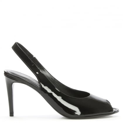 Sapparo Black Patent Leather Sling Back Peep Toe Sandals