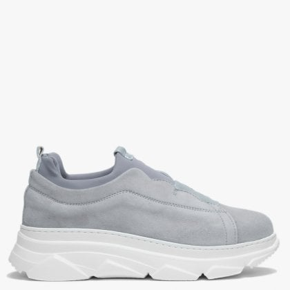 f805c8e7e73 Sarrie Grey Suede Slip On Chunky Trainers