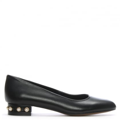Saury Black Leather Pearl Embellished Pumps