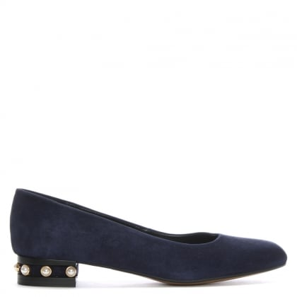 Saury Navy Suede Pearl Embellished Pumps