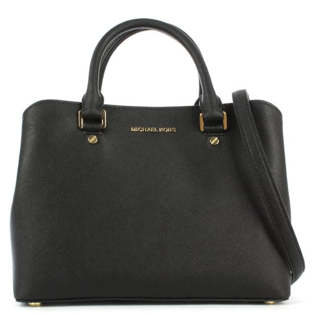 Savannah Black Leather Mid Satchel Bag