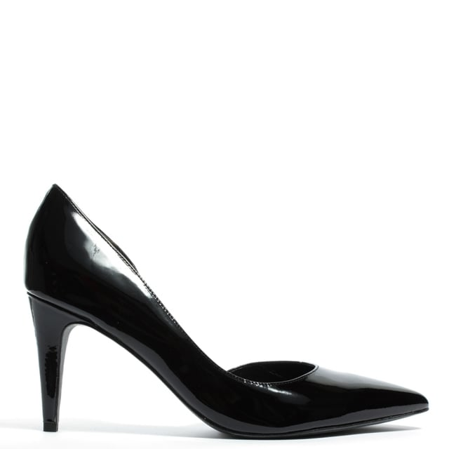 Savannah Black Patent Leather Open Side Court Shoe