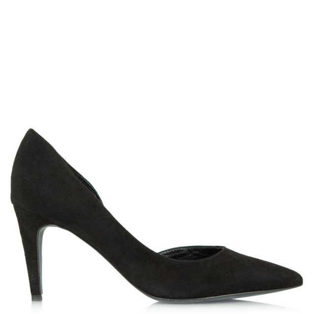 Savannah Black Suede Open Side Court Shoe