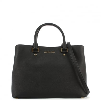 Savannah Large Saffiano Black Leather Satchel Bag