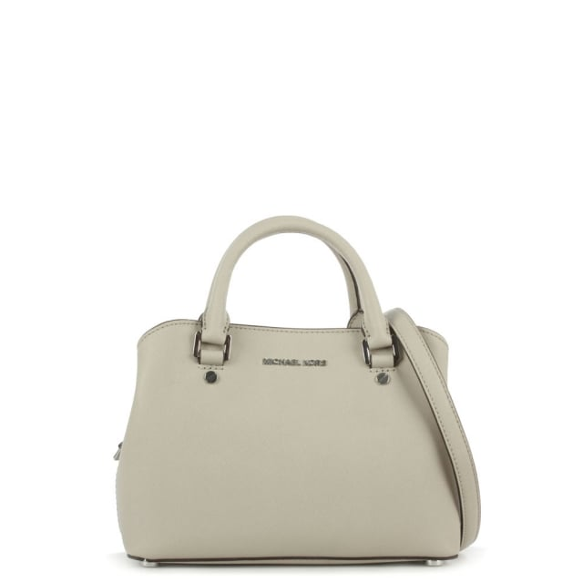Savannah Small Grey Saffiano Leather Satchel Bag