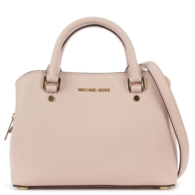 Savannah Small Pale Pink Saffiano Leather Satchel Bag