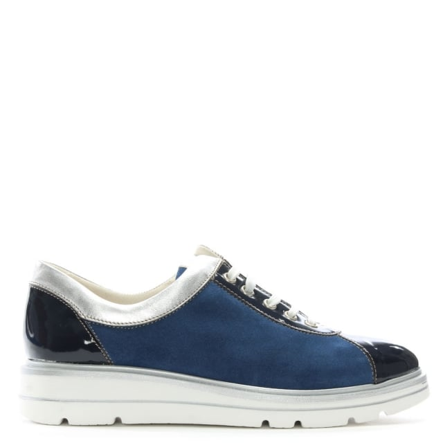 Savena Navy Suede Low Wedge Trainers