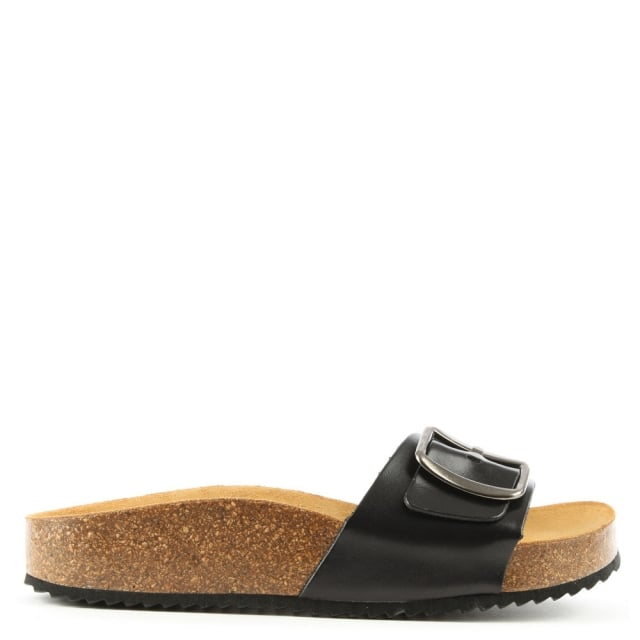 Saxton Black Leather Mule Sandal