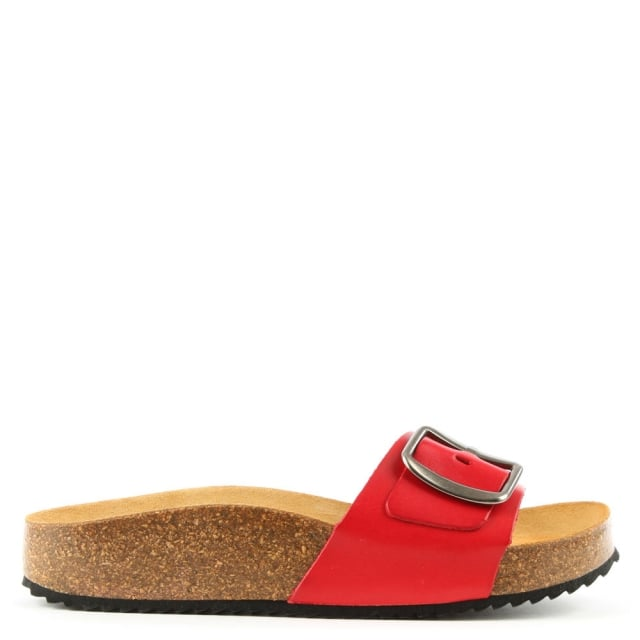 Saxton Red Leather Mule Sandal