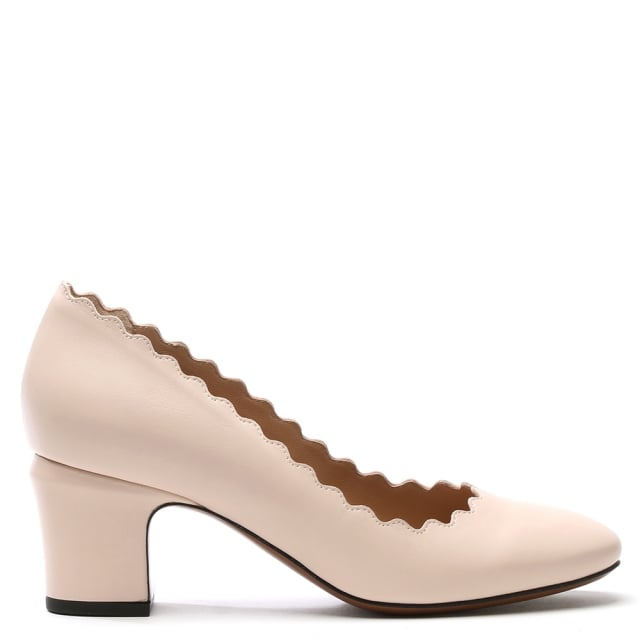 Scalloping Beige Leather Court Shoe