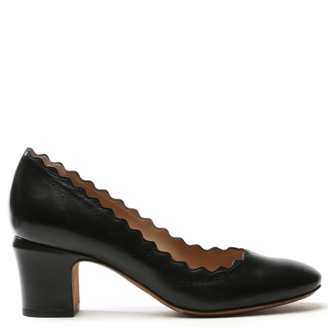 Scalloping Black Leather Court Shoe