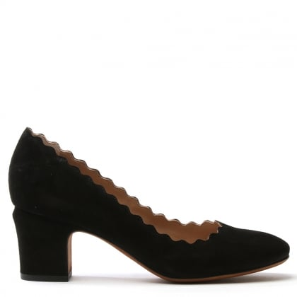 Scalloping Black Suede Court Shoe
