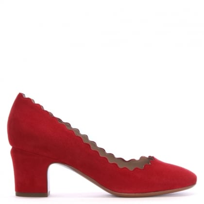 Scalloping Red Suede Court Shoes