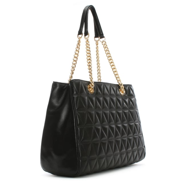 Scarlett Large Quilted Black Leather Tote Bag