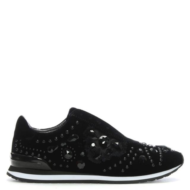 Tory Burch Scarlette Runner Black Velvet Jewelled Sneakers