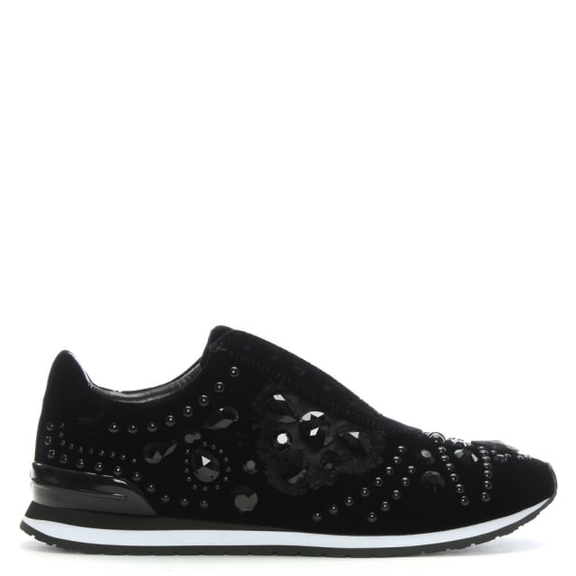 Scarlette Runner Black Velvet Jewelled Sneakers