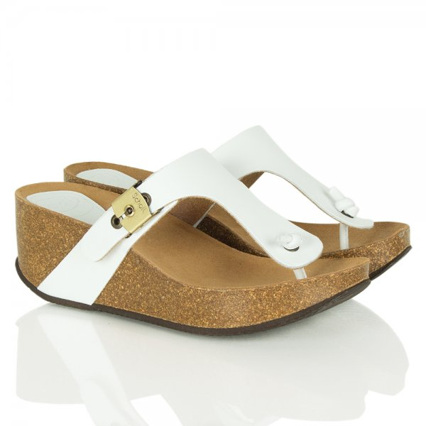 926b2a1b2397 Scholl Scholl Edna White Leather Wedge Sandals