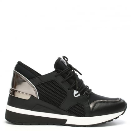 Scout Black & Pewter Leather Trim Trainers