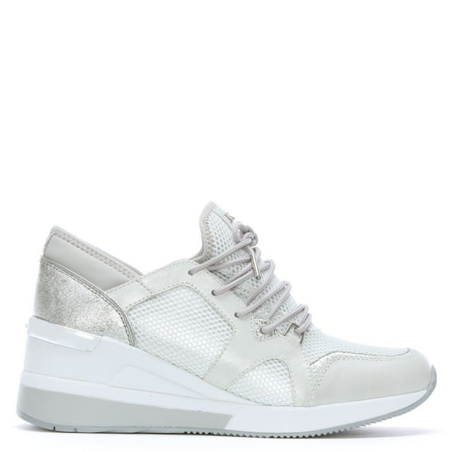 Scout Silver & Optic White Leather Trim Trainers