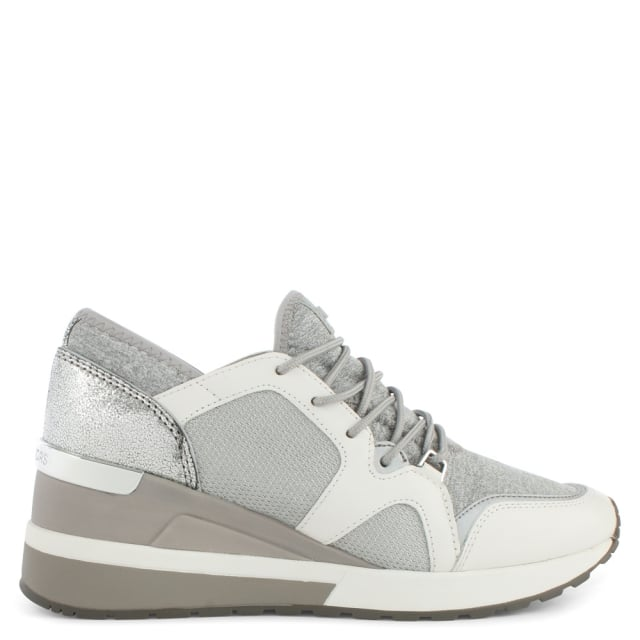 Scout White & Grey Leather Trim Trainer