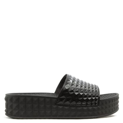 Scream Black Studded Flatform Slider