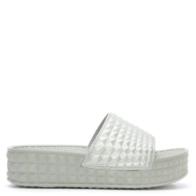 Scream Silver Studded Flatform Slider