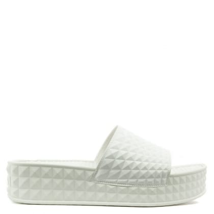 Scream White Studded Flatform Slider
