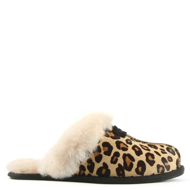 Scuffette II Leopard Calf Hair Slipper