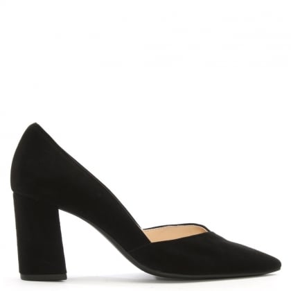 Sculpt Black Suede Court Shoes