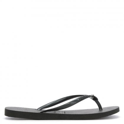 Seasons Black Diamante Flip Flops