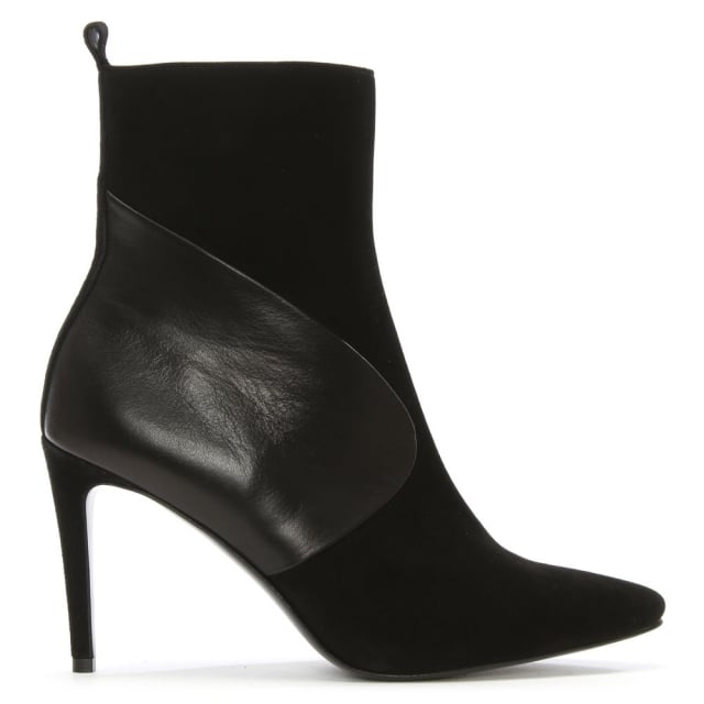 Sedaris Black Leather & Suede Pointed Toe Ankle Boot