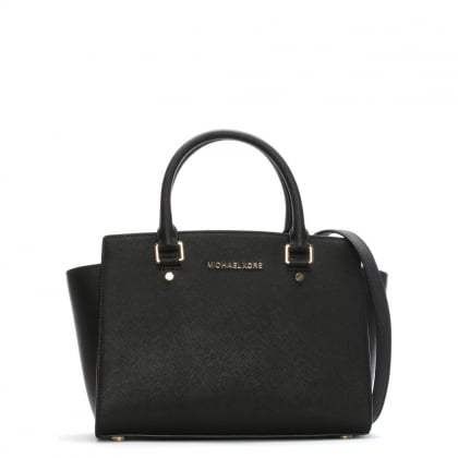 Selma Medium Black Leather Top Zip Satchel Bag