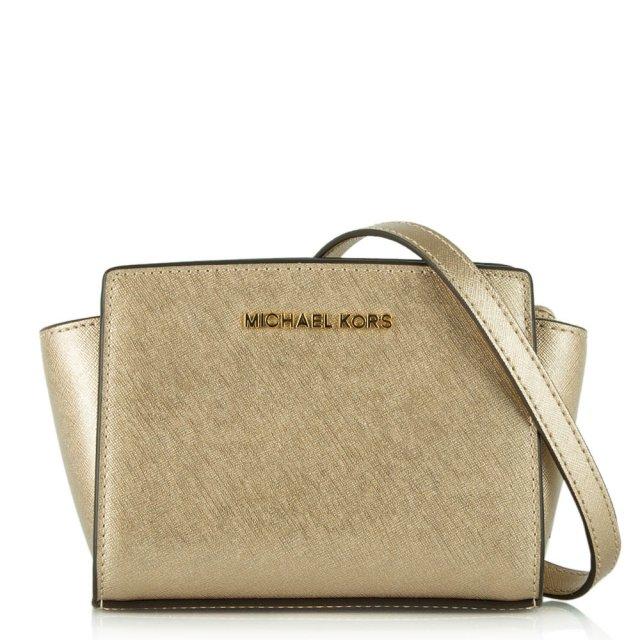 596f88c9de3f Micheal Kors Gold Leather Selma Mini Messenger Bag