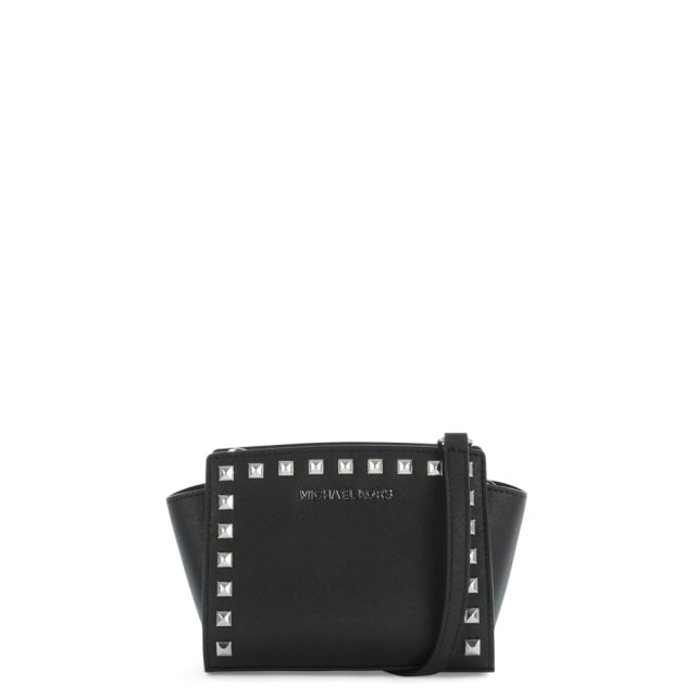 Selma Studded Black Leather Mini Messenger Bag