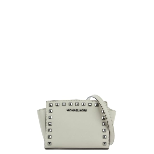 Selma Studded Cement Leather Mini Messenger Bag