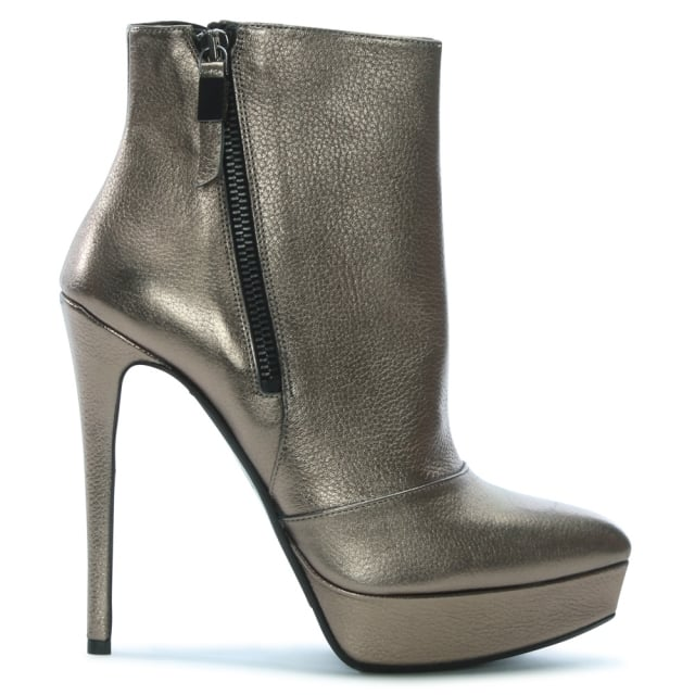 Albano Sendak Pewter Leather Platform Ankle Boots