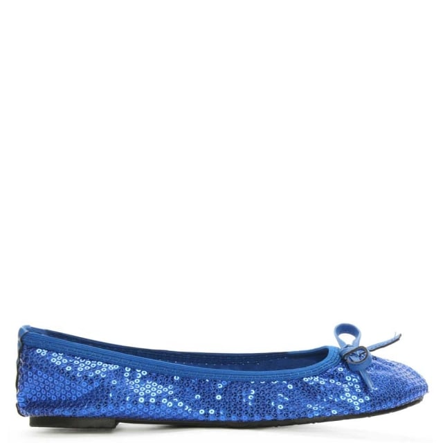 Sequins Blue Foldable Pocket Ballerina