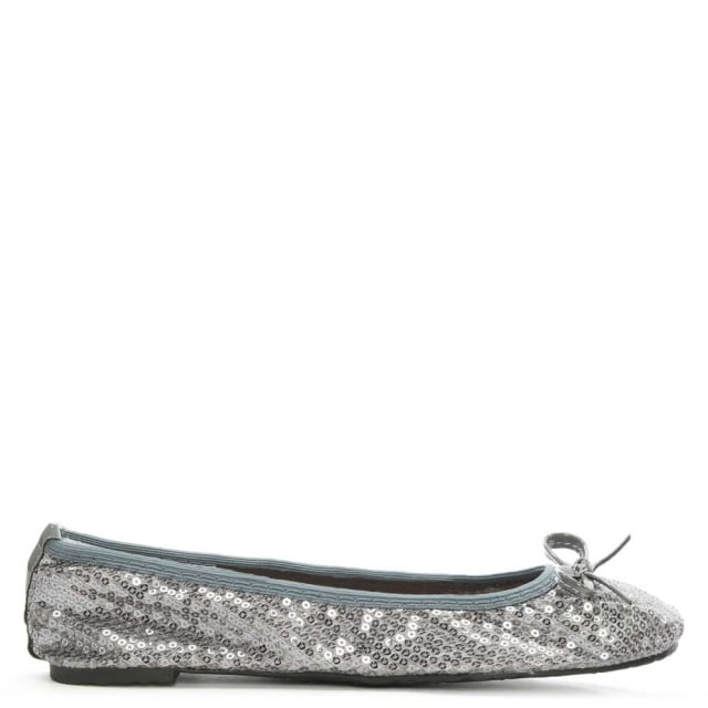 Sequins Silver Foldable Pocket Ballerina